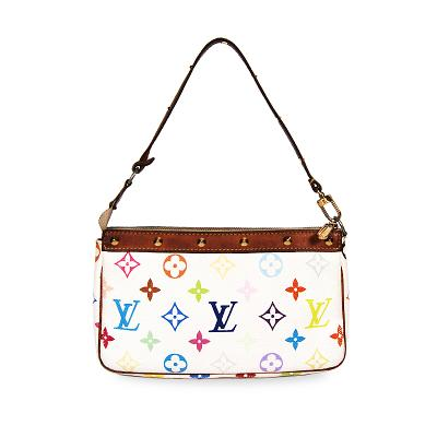 white multi color shoulder bag